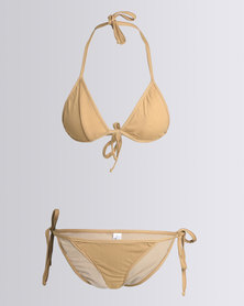 Nude Wear Triangle Bikini Set Cappuccino