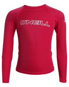 O'Neill Youth Basic Skins Long Sleeve Crew Pink
