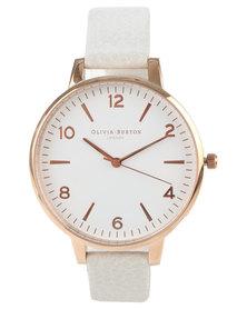 Olivia Burton Modern Vintage Leather Strap Watch Mink White