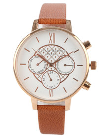 Olivia Burton Chrono Dial Leather Strap Watch Tan And Rose Gold