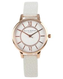 Olivia Burton Wonderland Leather Strap Watch Mink White
