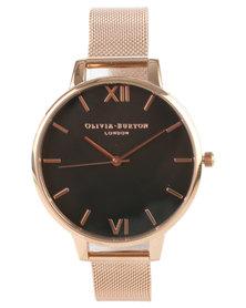 Olivia Burton Black Dial With Mesh Strap Watch Rose Gold