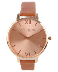 Olivia Burton Big Dial With Leather Strap Watch Tan And Rose Gold