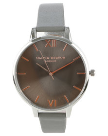 Olivia Burton Big Dial With Leather Strap Watch Rose Gold And Silver