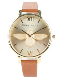 Olivia Burton Moulded Bee Leather Strap Watch Brown