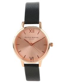 Olivia Burton Midi Dial Leather Strap Watch Black