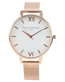 Olivia Burton Big Dial Mesh Strap Watch Rose Gold