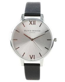 Olivia Burton Big Dial Leather Strap Watch Black/Silver