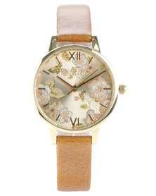 Olivia Burton Parlour Leather Strap Watch Camel/Gold