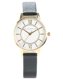 Olivia Burton Wonderland Leather Strap Watch Black/Gold