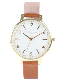 Olivia Burton Modern Vintage Leather Strap Watch Tan/Gold