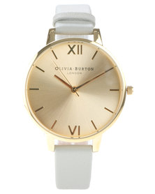 Olivia Burton Big Dial Leather Strap Watch Gravel Grey/Gold