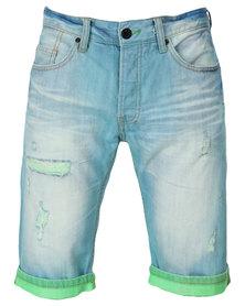 One Green Elephant Denim Shorts Blue Multi