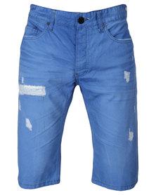 One Green Elephant Denim Shorts Mid Blue