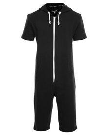 Onesie Fleece Short Sleeves Black