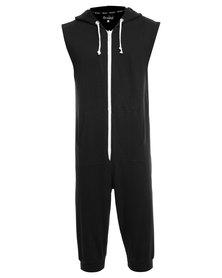 Onesie Sleeveless 3/4 Fleece Pants Black