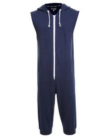 Onesie Sleeveless 3/4 Fleece Pants Navy