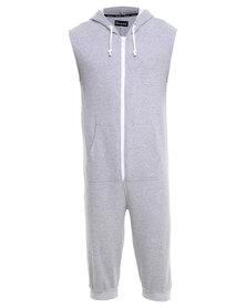 Onesie Sleeveless 3/4 Fleece Pants Grey