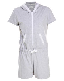 Onesie Hooded Summer Onesie with Lace Trim Grey