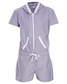 Onesie Hooded Summer Onesie with Lace Trim Chambray