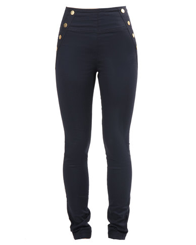 Outfitters Nation Hailey High-Waist Twill Leggings Navy Blue