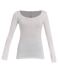 Paige Smith Basic Long Sleeve Top Cream