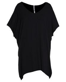 Paige Smith Oversize V-Neck Tee Dress Black