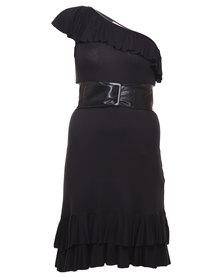 Paige Smith One-Shoulder Asymmetrical Dress Black