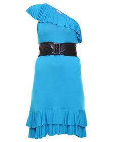 Paige Smith One-Shoulder Asymmetrical Dress Blue