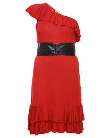 Paige Smith One-Shoulder Asymmetrical Dress Red