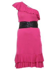 Paige Smith One Shoulder Asymmetrical Dress Pink
