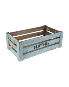 Pamper Hamper Vintage Blue Flower Crate With Manila Rope Handles- Medium