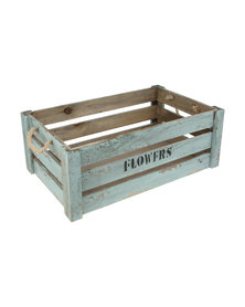 Pamper Hamper Vintage Green Flower Crate With Manila Rope Handles- Medium