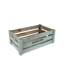 Vintage Green Flower Crate With Manila Rope Handles