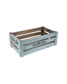 Pamper Hamper Vintage Blue Flower Crate With Manila Rope Handles