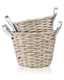 Pamper Hamper Rattan  Set of 2 Lined Baskets Beige