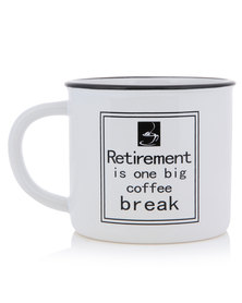 "Pamper Hamper ""Retirement"" Heavy Dolomite Mug White"