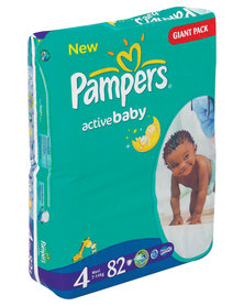 Pampers Active Baby Giant Pack Size 4 Maxi 7-14kg x82