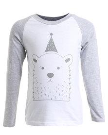Panda & Frost Bear Long Sleeve T-Shirt White