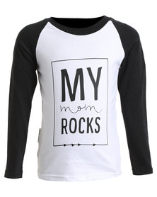 Panda & Frost Mom Rocks Long Sleeve T-Shirt White