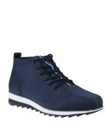 Paul of London Casual Lace Up Canvas Boot Navy