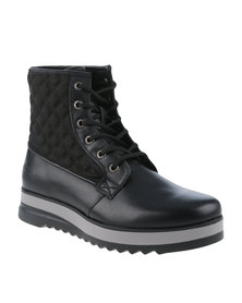 Paul of London Quilt Lace Up Ankle Boot Black