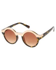 Pedro's Bitchin Eyewear Toni Bling Gold Brow Round Sunglasses Brown