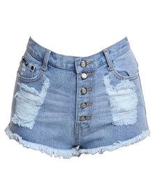 Peg High Waisted Ripped Denim Shorts Blue