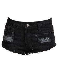 Peg Low Rise Ripped Denim Shorts Black