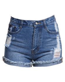 Peg High Waisted Fold Up Denim Shorts Blue