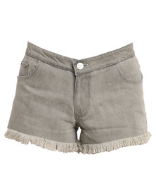 Peg Denim Mid Rise Shorts Green