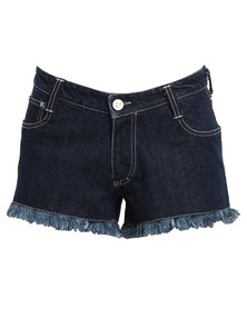Peg Denim Mid Rise Shorts Blue