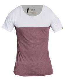 Peg Contrast Tee Maroon and White