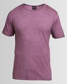 PEG Men's Acid Washed Plain Tee Purple